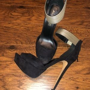 Aldo black heels, with gold ankle strap